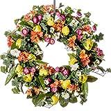 Tulip, Petunia & Ranunculus Silk Wreath (SW921) - Spring Wreath, Summer Wreath, Everyday Wreath (26 inch)