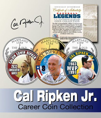 - Baseball Legend CAL RIPKEN, JR. US State Quarter Colorized 3-Coin Set *Licensed*