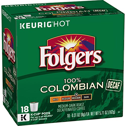 Folgers Decaf 100% Colombian, Medium-Dark Roast, K Cup Pods for Keurig Brewers, 18 Count (Pack of 4)