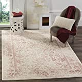 Safavieh Adirondack Collection ADR109H Ivory and Rose Oriental Vintage Distressed Area Rug (4' x 6')