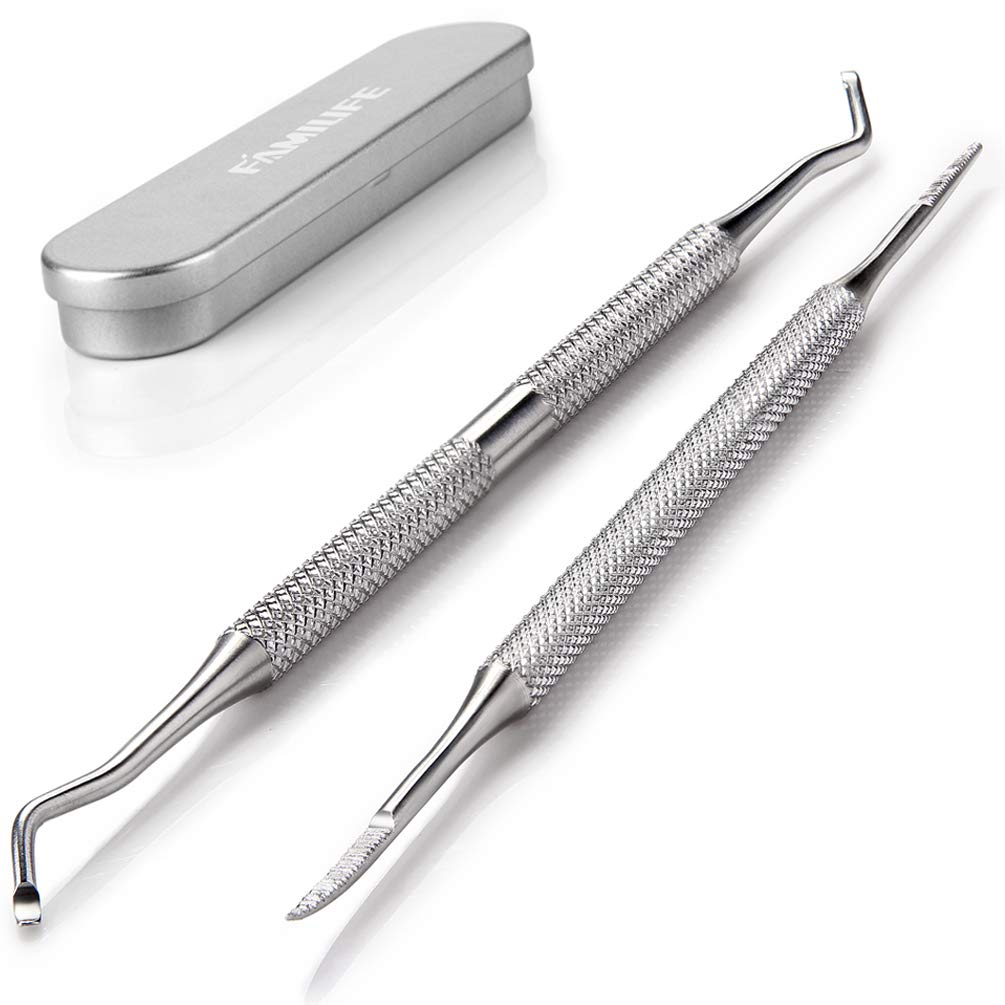 FAMILIFE L07 100% Stainless Steel Ingrown Toenail File and Lifter Double Sided with Storage Case (Ingrown Toenail File)