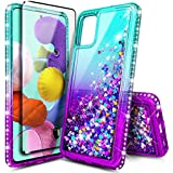 E-Began Case for Samsung Galaxy A51 [Not Fit A51 5G Version] with Tempered Glass Screen Protector (Full Coverage), Sparkle Glitter Flowing Liquid w/Bling Diamond, Durable Girls Cute Case -Aqua/Purple