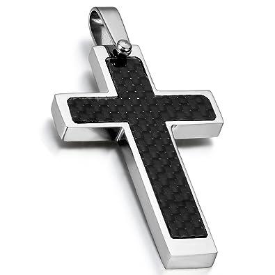 Cupimatch Rosarios para Hombre Collar Cruz Colgante Acero Inoxidable Collar Hombre Budista Religiosas Buena Suerte Día del Padre Regalo