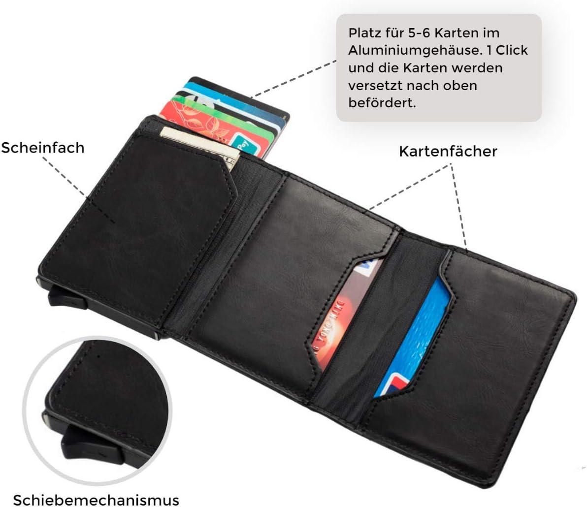 Porte Feuille pour Homme Portefeuille Metallique Etui Carte bancaire Anti piratage RFID HAFEID Porte Carte bancaire