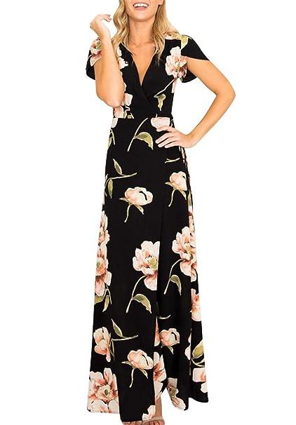 Vestido De Verano Cuello V Manga Corta Estampado Floral Casual Pocket Vintage Vestido Largo Playa Sundress