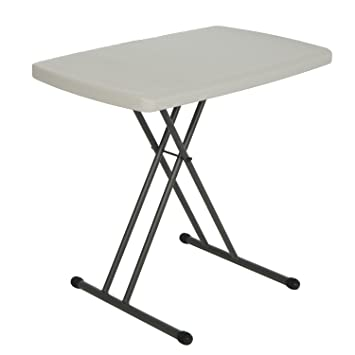 Lifetime 28240 Height Adjustable Folding Personal Table, 30 By 20 Inch,  Almond