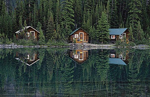Image Lrg (Cabins on the Lake Wallpaper Wall Mural - Self-Adhesive - Multiple Sizes - National Geographic Image from Magic Murals)