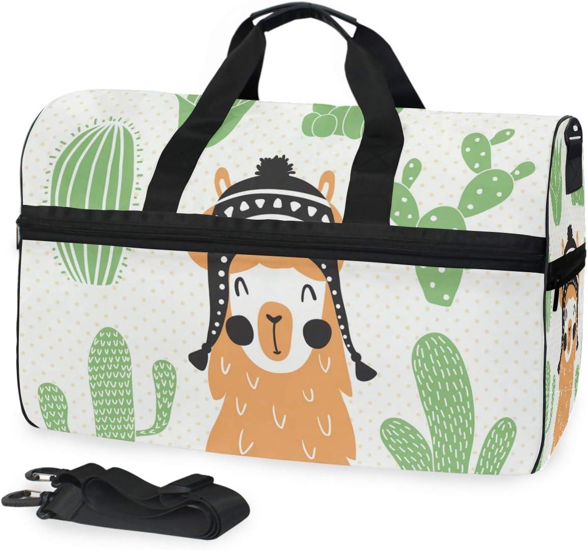 Travel Duffels Llama In Sombrero Duffle Bag Luggage Sports Gym for Women /& Men