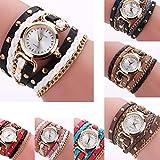 Han Shi Hot Sale Watch, Women Fashion Diamond Round Table Small Twist Rivet Leather Bracelet