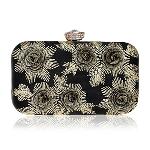 Ladies Size Red Gold Color Evening Beaded Bag Evening Clutch Bag Banquet Flower XS New RPq4rR