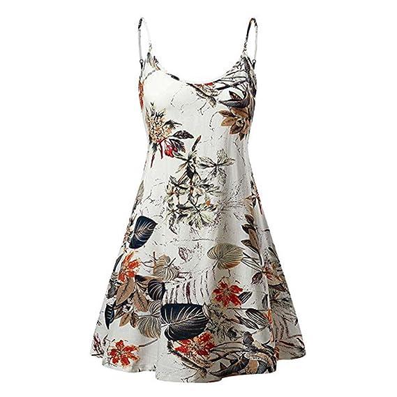 Vestidos Mujer Tirantes, Vestido Camisero sin Tirantes con Estampado de Flores de Verano