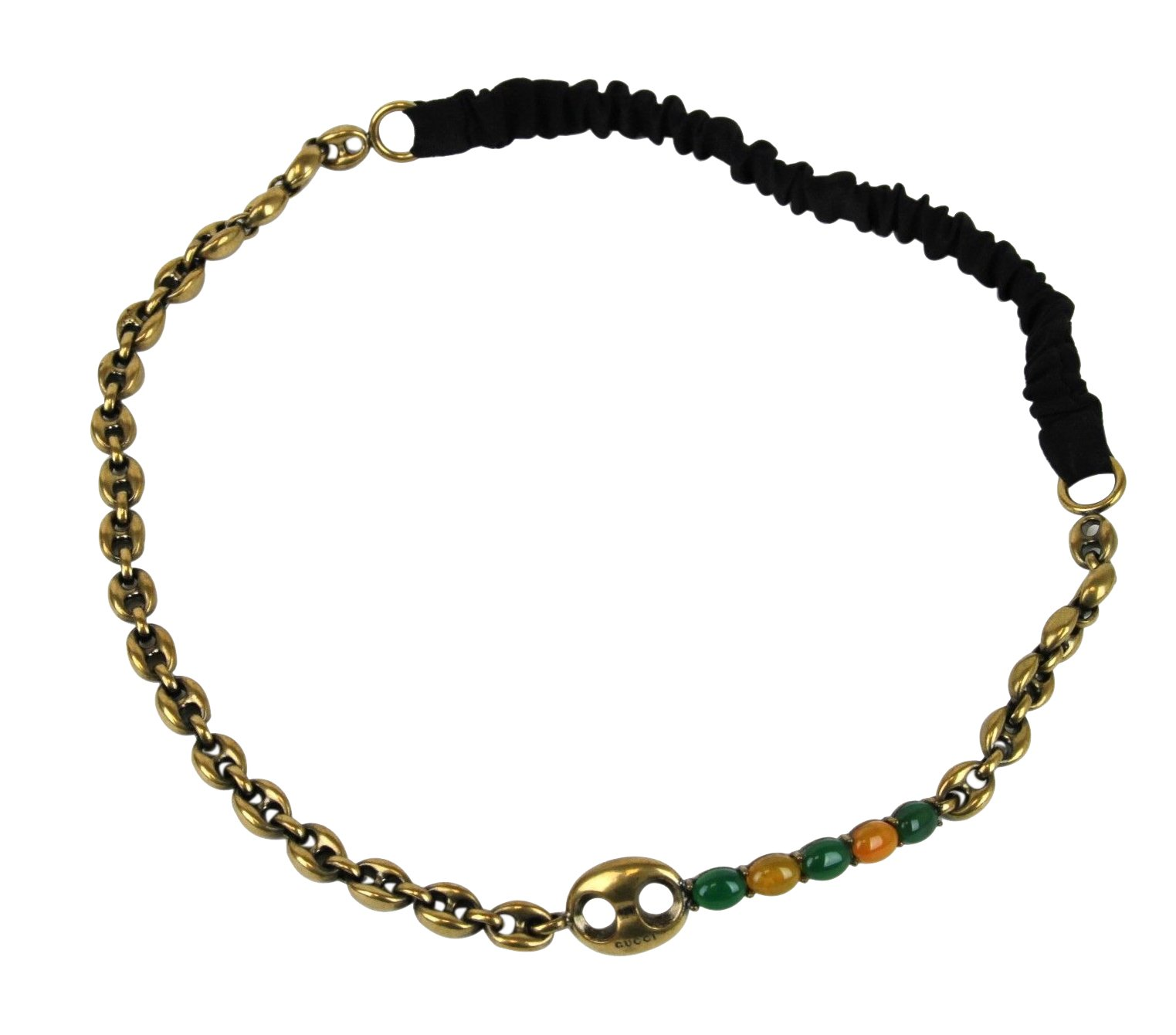 Gucci Women's Antique Brass Chain with Logo Stones Headband 311710