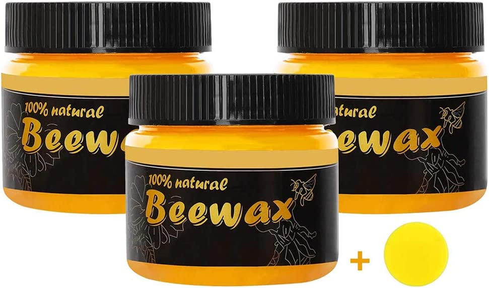 3Pcs Wood Seasoning Beewax Polish - Traditional Beeswax Polish for Wood & Furniture - All-Purpose Beewax for Furniture Cleaning - Furniture to Beautify & Protect