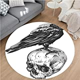 Nalahome Modern Flannel Microfiber Non-Slip Machine Washable Round Area Rug-r Scary Movies Theme Crow Bird Sitting on a Human Old Skull Sketchy Image Black and White area rugs Home Decor-Round 71''