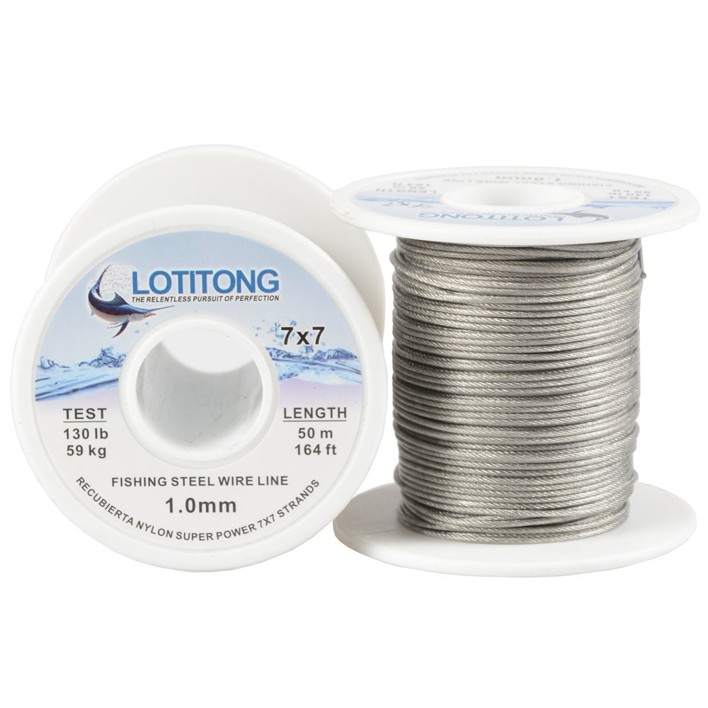 LOTITONG 50M 130LB 1.0mm fishing steel wire line 7x7 49 strands Trace Coating Wire Leader Coating Jigging Wire Lead Fish Jigging Line Fishing Wire Stainless Steel Leader Wire