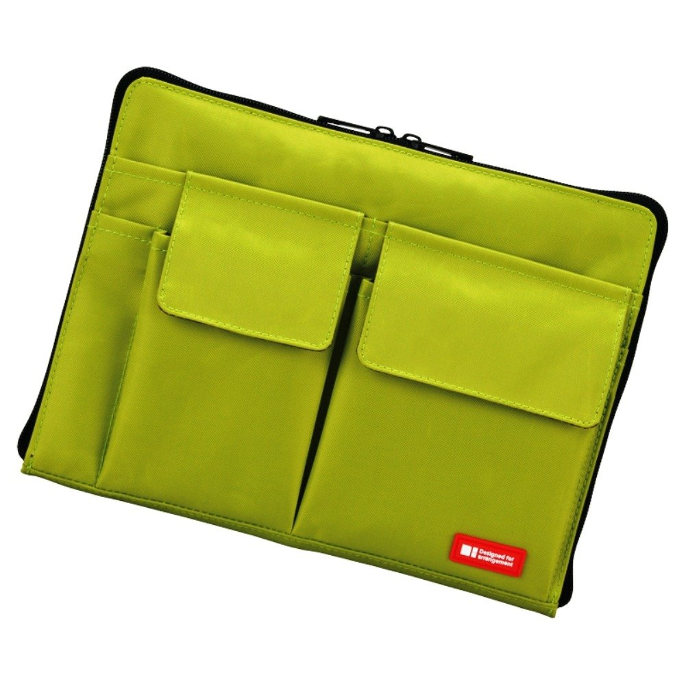 LIHIT LAB Bag Insert Organizer with Storage Pockets (Bag-in-Bag), Yellow Green, 7.1 x 9.8 Inches (A7553-6)