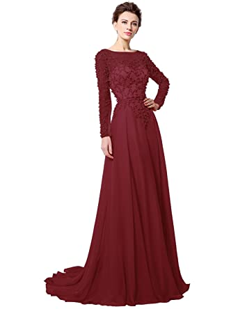 Sarahbridal Womens Crystal Beaded Prom Dresses 2018 Long Evening Gowns Formal Burgundy US2