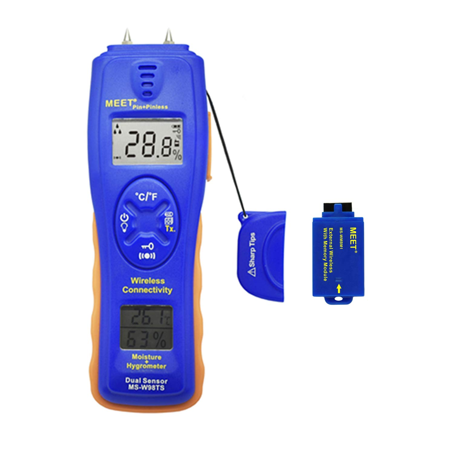 Meet Wireless Connectivity Moisture Meter,Air Temperature Humidity Display,2 pins Type,Wood, Concrete, Drywall, Carpet Moisture Tester Detector (MS-W98TS+MS-WMBM1)