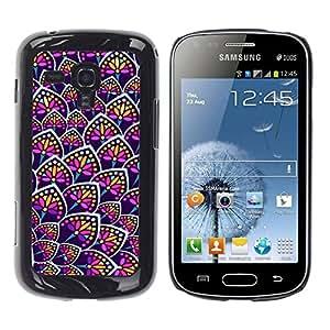 FECELL CITY // Duro Aluminio Pegatina PC Caso decorativo Funda Carcasa de Protección para Samsung Galaxy S Duos S7562 // Rainbow Floral Colors Purple Pattern