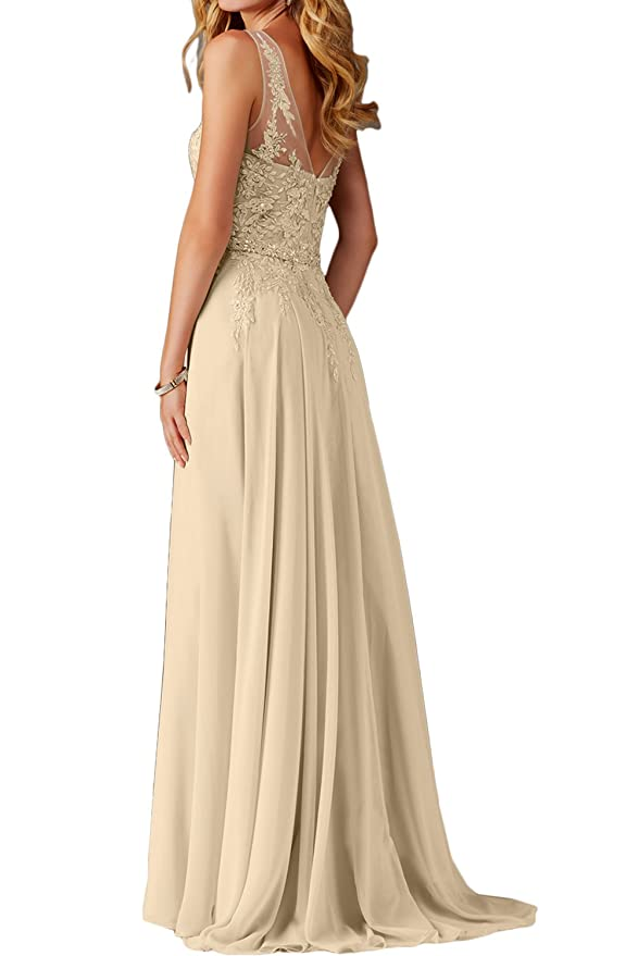 DressyMe Womens Evening Prom Dresses Long V-neck Applique: Amazon.co.uk: Clothing