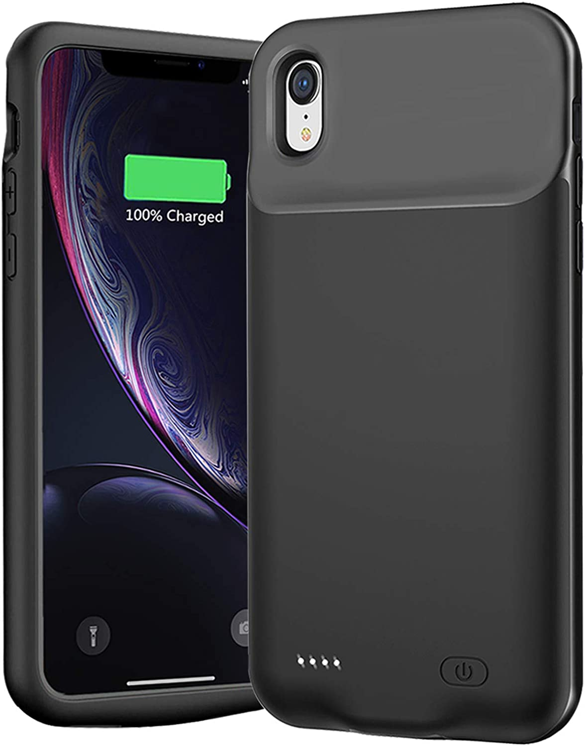 Battery Case for iPhone XR, YINGYKJ 7000mAh Portable Battery Pack Rechargeable Smart Charger Case Compatible with iPhone XR (6.1 inch) External Battery Charging Case (Black)