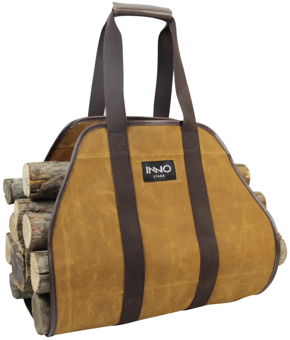 INNO STAGE Waxed Canvas Log Carrier Tote Bag,40''X19'' Firewood Holder,Fireplace Wood Stove Accessories-Rust