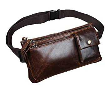 aa85718c382 Amazon.com | Hebetag Vintage Leather Fanny Pack for Men Hip Bum Belt Waist  Purse Travel Hiking Cell Phone Clutch Bag Handbag Coffee | Waist Packs