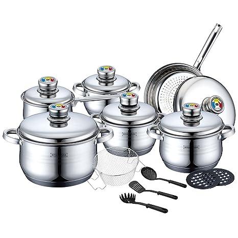 Royalty Line - Batería de cocina (acero inoxidable, 18 piezas)