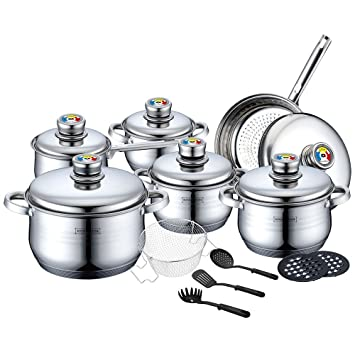 batteria da cucina 18 pezzi in inox royalty line: amazon.it: casa ... - Batterie Da Cucina