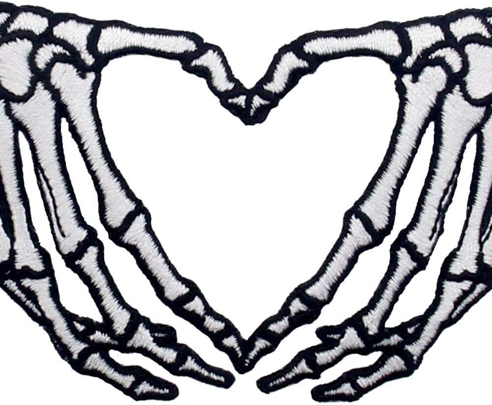 ZEGINs Skeleton Heart Hands Patch Embroidered Applique Iron On Sew On Emblem
