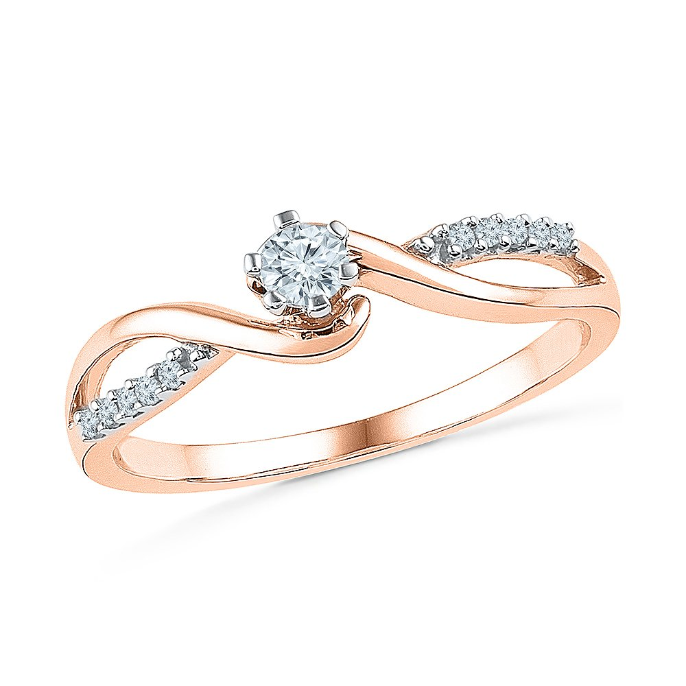 Love Forever - Beautiful Promise Ring for Her with 10K Rose Gold And Solitaire Diamond (0.16 CTTW)