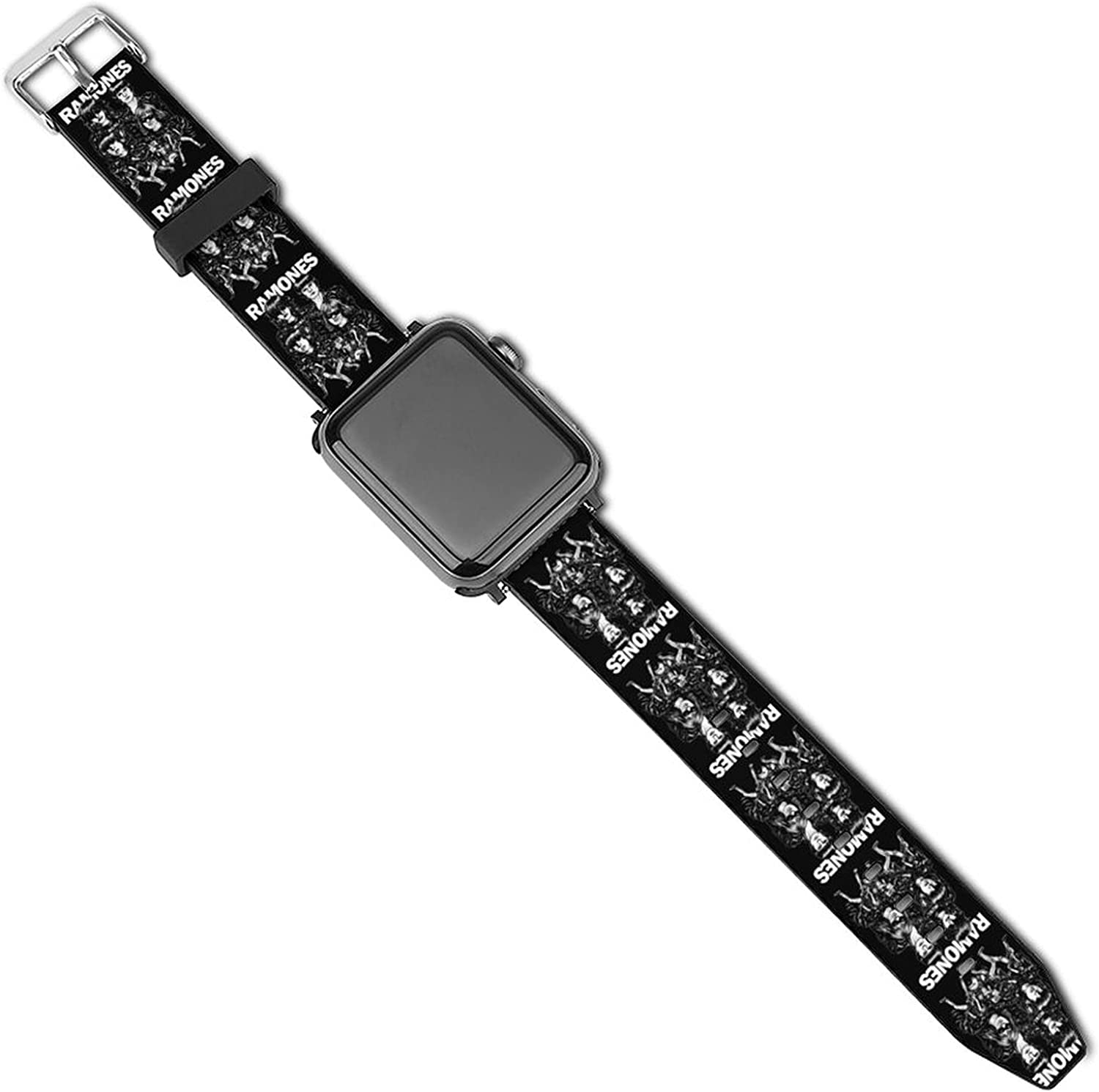 Ra-mo-NES Patterned Leather Wristband Strap for Apple Watch Series 5/4/3/2/1