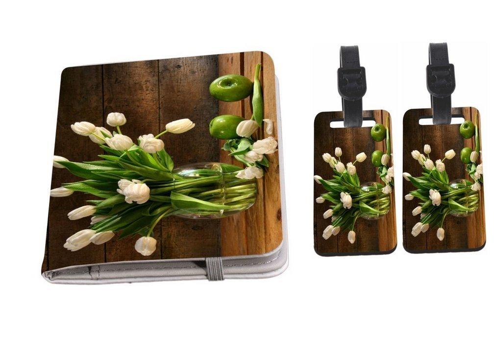 Rikki Knight White Tulips In Glass Vase Rustic Wood Green Apples Passport Holder + Luggage Identifier Tags