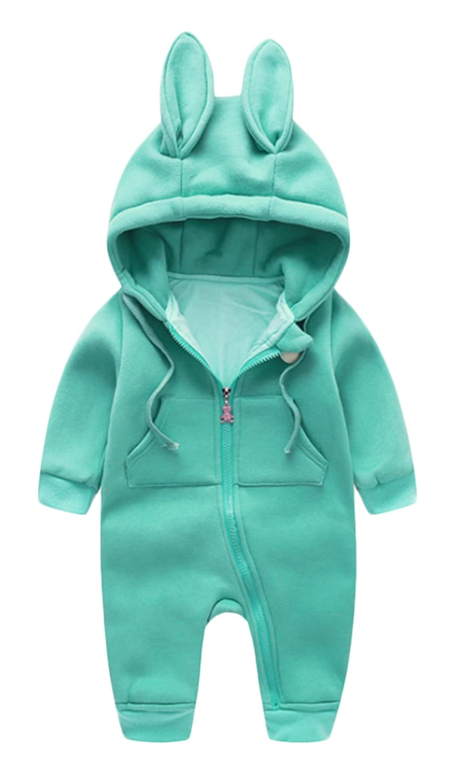 46127e385a90 Amazon.com  Baby Boys Girls Jumpsuits Cute Rabbit Ear Hooded Infant ...