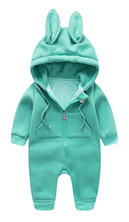 c55fca0f5bebf Baby Boys Girls Jumpsuits Cute Rabbit Ear Hooded Infant Rompers Outfit 3-6  Months (