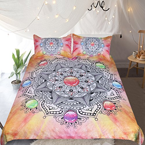 Sleepwish Diamond Gemstone Mandala Bedspread Flower of Life Chakra Bedding 3 Piece Orange Crystal Indian Psychedelic Bed Set - Chakras Mandala