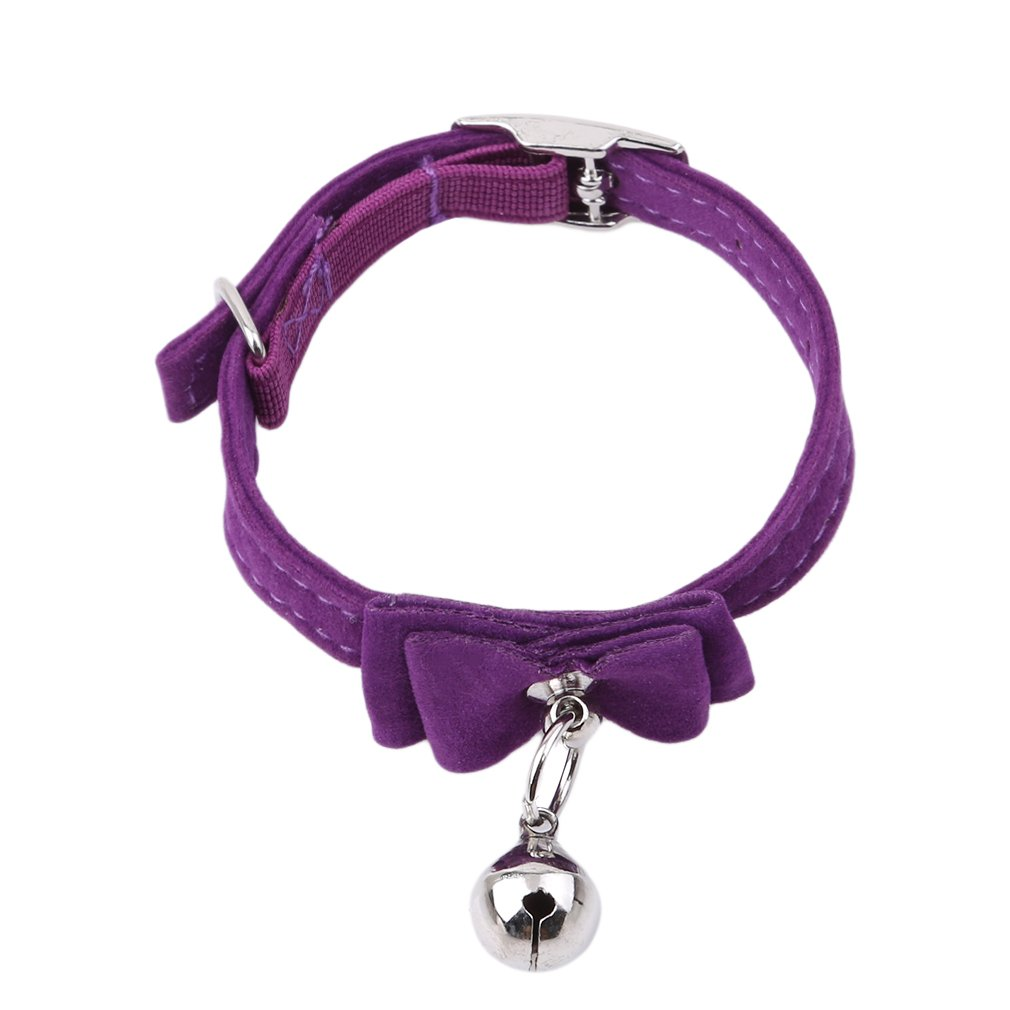 Myhouse Adjustable Pet Bowtie Cat Kitten Collar Bow Tie with Bell Charm Pet Supplies (Purple)