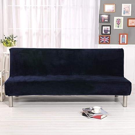 Funda de sofá clic-clac elástico Plus grueso de peluche de las tareas confortable elástico Universal decoración de la casa antipolvo, azul
