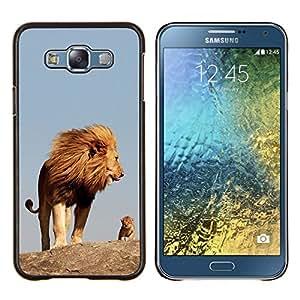 KLONGSHOP // Cubierta de piel con cierre a presión Shell trasero duro de goma Protección Caso - madre naturaleza lindo mama león - Samsung Galaxy E7 E700 //