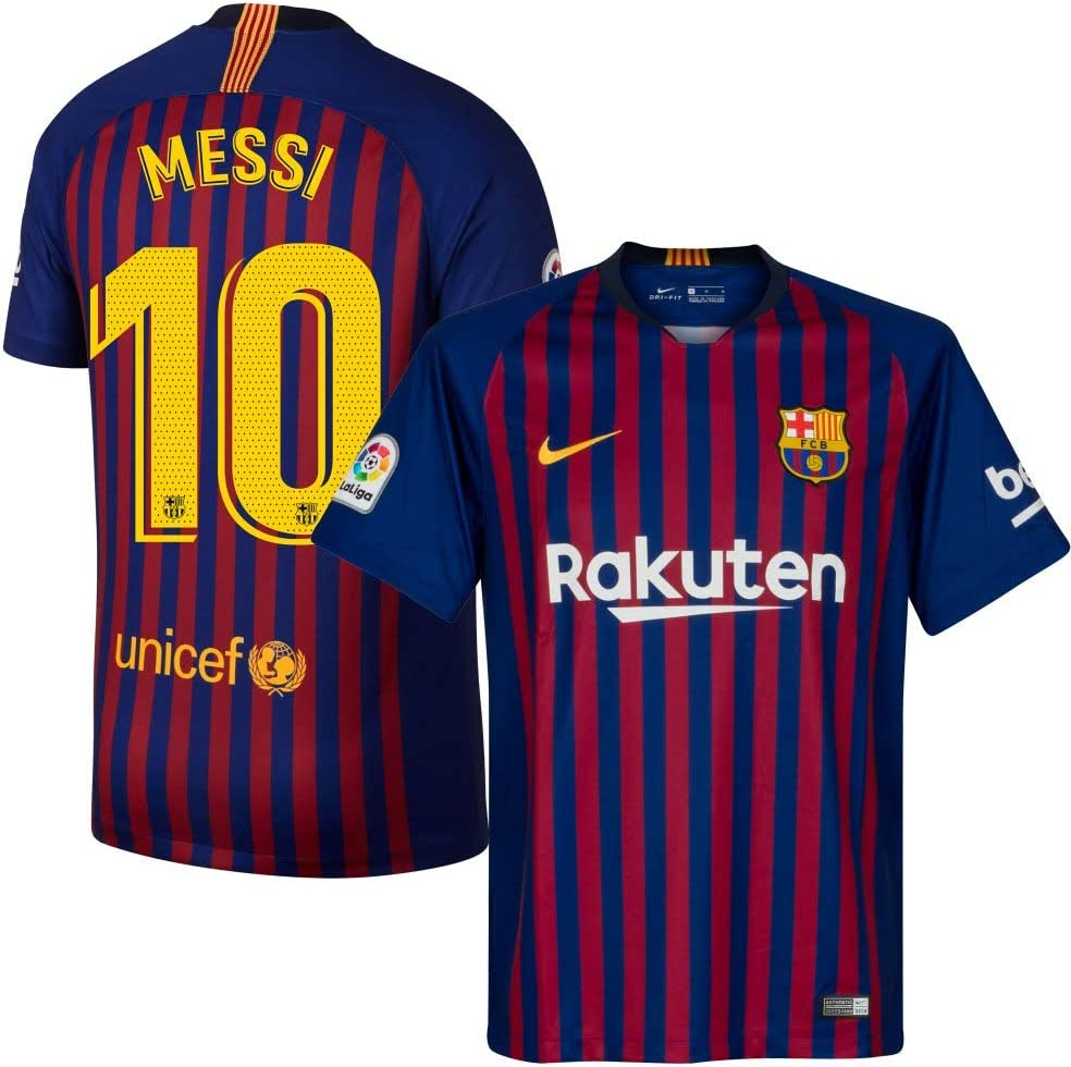 Amazon Com Nike Barcelona Home Messi 10 Jersey 2018 2019 Official Pro Size Printing M Sports Outdoors