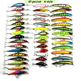 GUAITAI Lot 43pcs Fishing Lures Outdoor Fishing Baits CrankBait with Hook 6 Styles