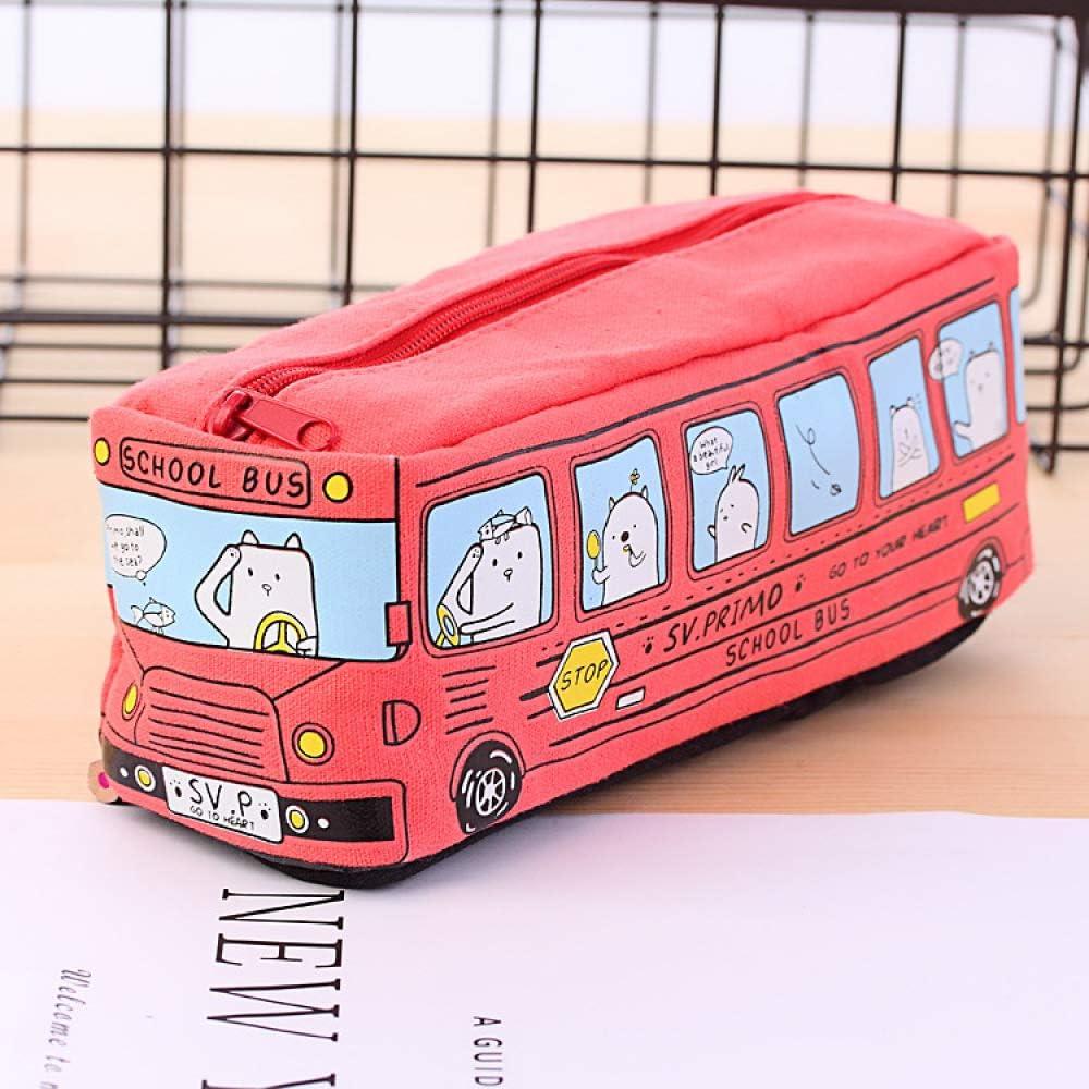 Estudiante Creativo Papelería Animal Pequeño Autobús Bolígrafo Bolsa Caja De Lápices De Autobús Hombres Y Mujeres Lienzo Caja De Lápices Roja: Amazon.es: Oficina y papelería