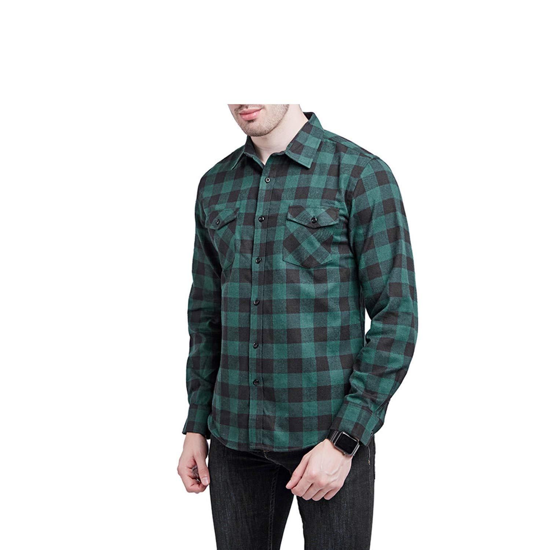 EspTmall Plaid Shirt Winter Flannel Black White Plaid Shirt Men Shirts Long Sleeve Cotton Male Check Shirts Blue S United States