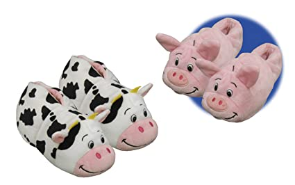 12d50a18282c Amazon.com  FlipaZoo Slippers Pig Transforming To Cow Toddler Size ...