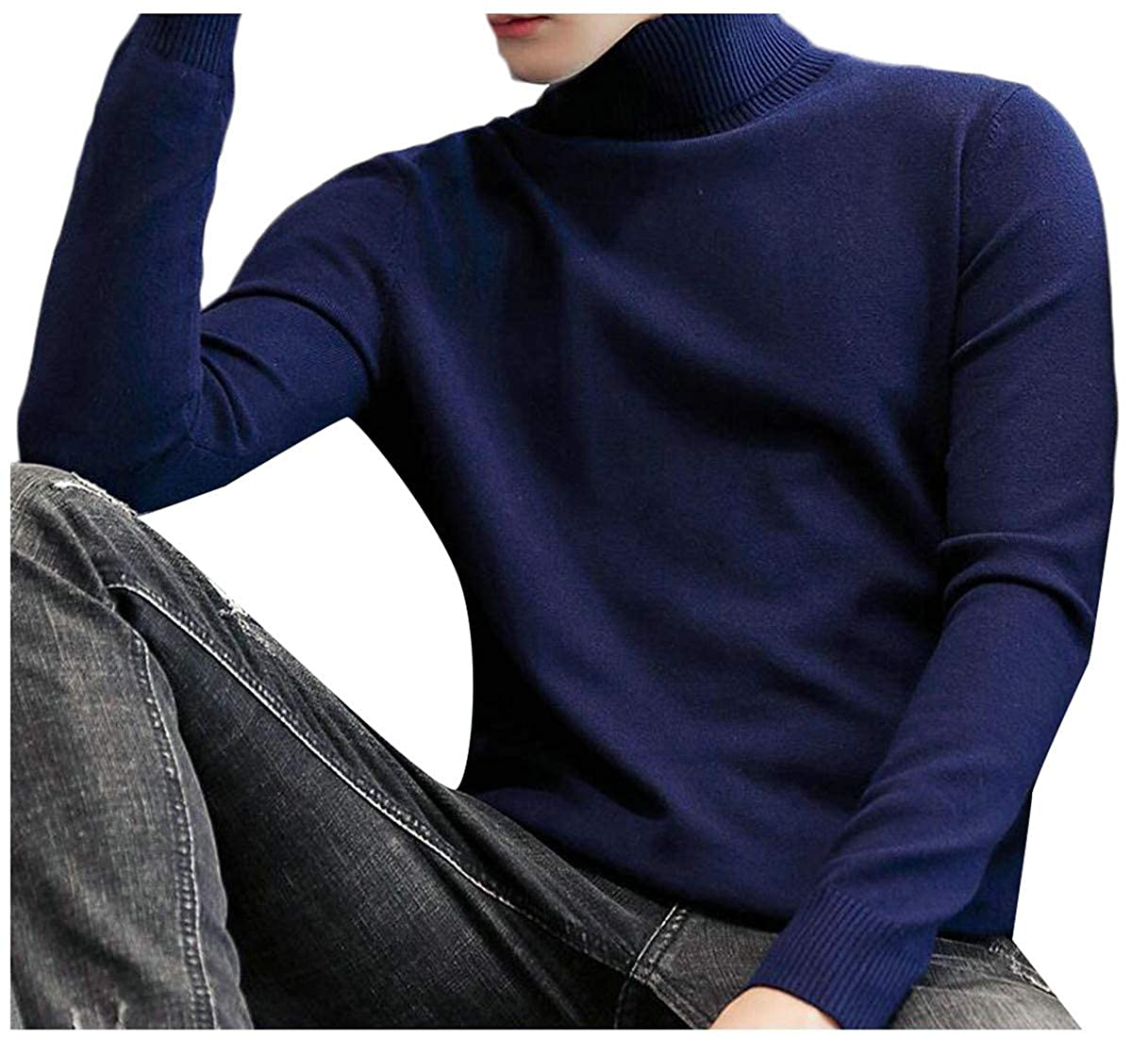Lutratocro Men Slim Fit Pure Colour O-Neck Knits Pullover Jumper Sweaters