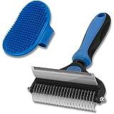 CGBE Dog Brush and Cat Brush, 2 in 1 Pet Undercoat Rake Grooming Tool for Deshedding, Mats & Tangles Removing, Shedding Brush