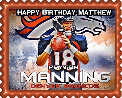 Peyton Manning Denver Broncos - Edible Cake Topper