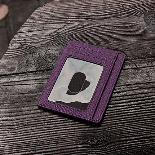 Slim Minimalist Leather Wallets for Men & Women - Cross Purple