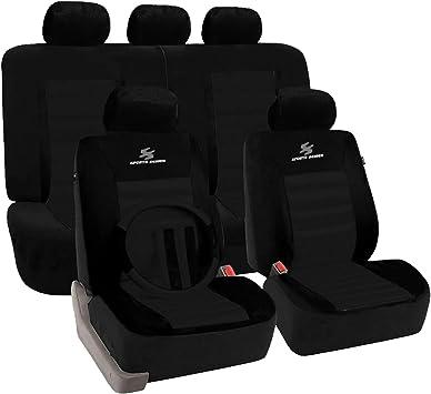 Esituro Scsc0020 Auto Schonbezug 12 Teillige Sitzbezüge Mit Lenkradbezug Und Gurtpolster Für Auto Universal Schwarz Auto