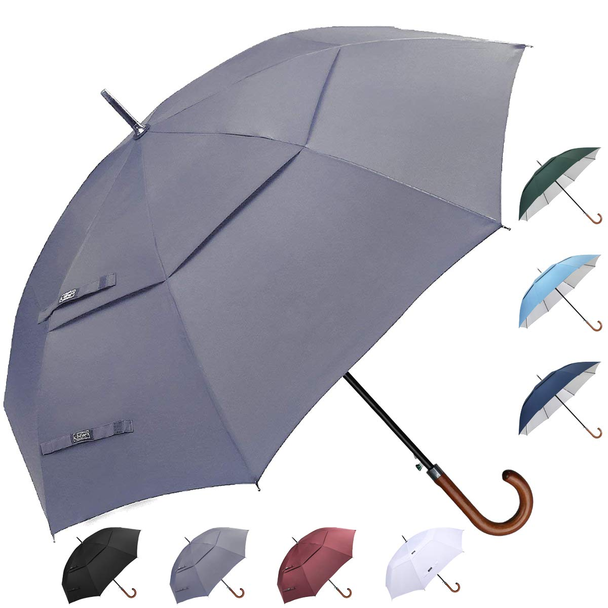 G4Free Wooden Hook Handle Classic Golf Umbrella Windproof Auto Open 62 inch Large Oversized Double Canopy Vented Rainproof Cane Stick Umbrellas Men Women(Gray) by G4Free